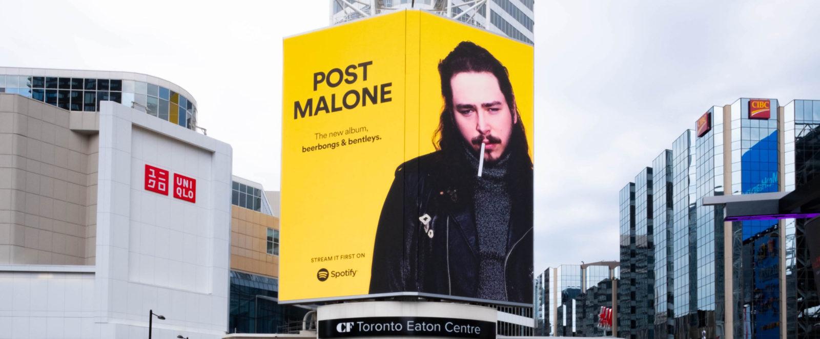 Spotify Post Malone - Yonge-Dundas Square - CF TEC Tower + AOB Media Tower (Toronto, Ontario)